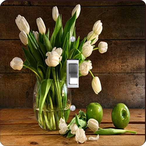 Rikki Knight RK-LSPS-8970 White Tulips In Glass Vase On Rustic Wood With Green Apples Design Light Switch Plate Cover by Rikki Knight