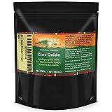 (16 oz) Zinc Oxide Powder with RECIPE EBOOK - Non Nano, Uncoated, Pharmaceutical Grade and Lead Free - Use to Make Ointments, Sunblock, Sunscreen Sticks, Acne and Rash Creams