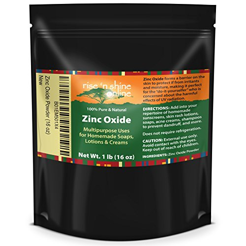 (16 oz) Zinc Oxide Powder with RECIPE EBOOK - Non Nano, Uncoated, Pharmaceutical Grade and Lead Free - Use to Make Ointments, Sunblock, Sunscreen Sticks, Acne and Rash Creams