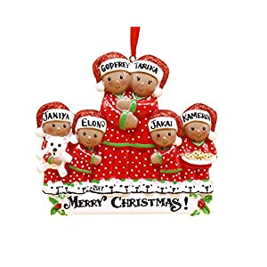 African American Pajama Family Personalized Christmas Ornament - Family 6 (4 Kids)
