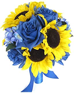 Amazon.com: Wedding Silk Flowers Bridal Bouquet YELLOW SUNFLOWER ...