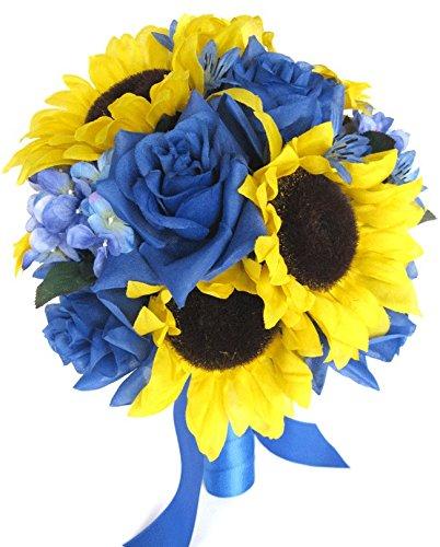 Amazon wedding bouquets bridal silk flowers yellow sunflower wedding bouquets bridal silk flowers yellow sunflower royal blue 17 piece package wedding bouquet centerpiece flower mightylinksfo