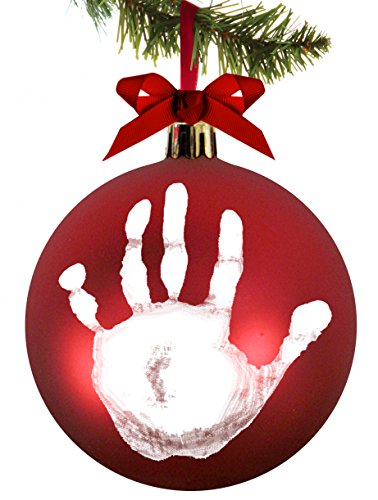 Tiny Ideas Babyprints DIY Handprint or Footprint Holiday Ball Ornament, Red