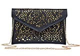 Womens Faux Leather Neon Hollow Flowers Envelope Summer Clutch Purse (black)