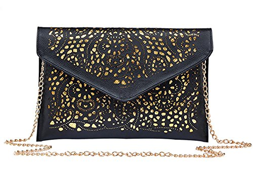 Womens Faux Leather Neon Hollow Flowers Envelope Summer Clutch Purse (black) by Acesale