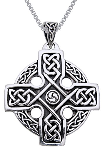 Jewelry Trends Sterling Silver Celtic Trinity Cross Knotwork Pendant on 18 Inch Box Chain Necklace (Silver Sterling Plain Celtic Pendants)