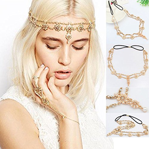 Hattfart Hair Accessories for Women Headpiece Hair Bands Jewelry Antique Rhinestone Crystal Gold (Gold)