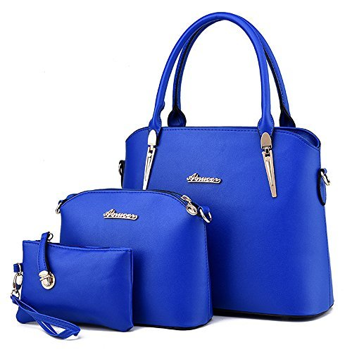 LINGTOM 3 pieces Lady Womens PU Leather Shoulder Bags Top Handle Cross Satchel Handbag Set,Blue (Blue Leather Handbags)