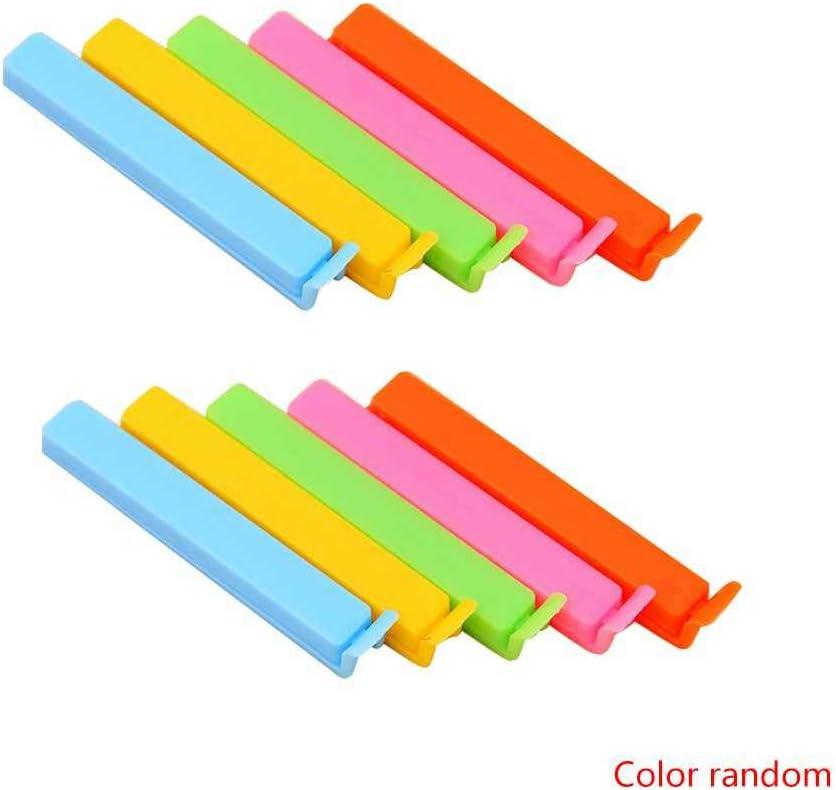 PRENKIN 10 PCS Clips de plástico de Colores Brillantes de Color té del lacre del alimento bolsitas de té Sellado Abrazaderas Cocina Suministro Color al Azar