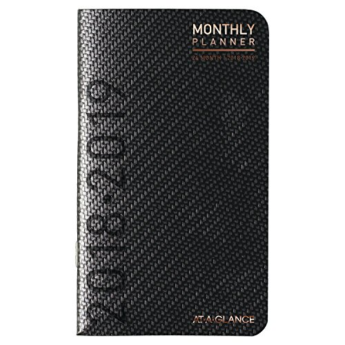 """AT-A-GLANCE Monthly Pocket Planner, January 2018 - December 2019, 3"""" x 6"""", Contemporary, Graphite (70024X45)"""