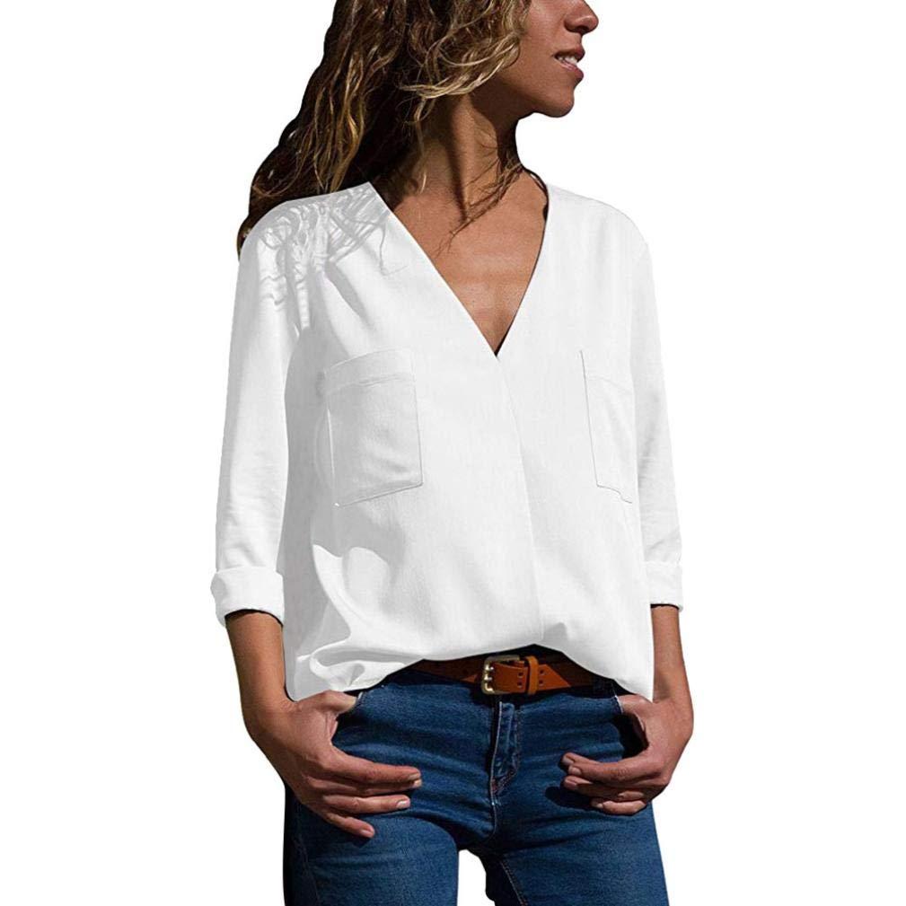 OWMEOT Women Long Sleeve V Neck Hollow Out Floral Print Shirt Tops Long Blouse Tee