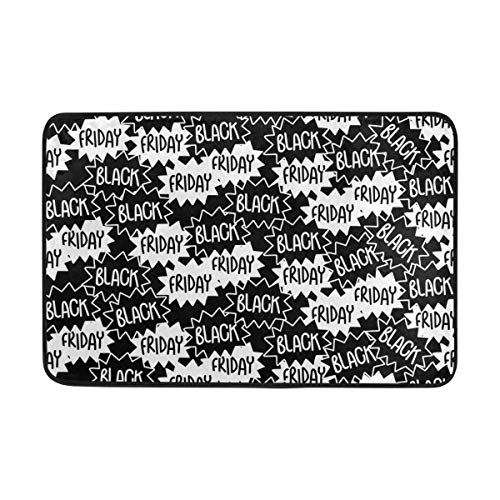 LEISISI Black Friday Seamless Pattern Doormat for indoor outdoor Entry Way Non-slip Mat 23.6x15.7 -