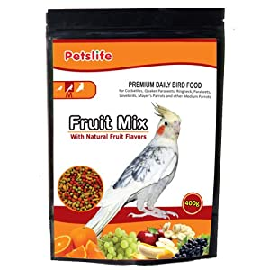 Petslife Fruit Mix Bird Food, 400 g (Medium)