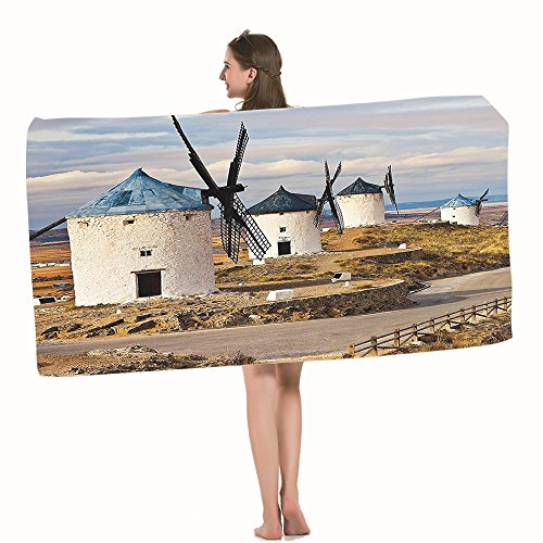 Moslion Bath Towels Windmill Medieval Spain Blue White Light Brown Towel Adult soft Towel 32 X 64 Inch Bath Sheet by Moslion