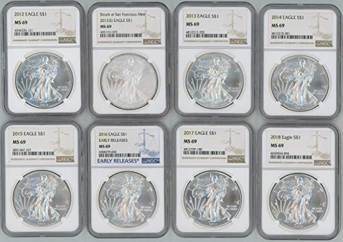 2012 2012(S), 2013, 2014, 2015, 2016, 2017, 2018 Silver Eagle NGC MS69 8-Coin Set ()