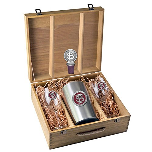 FSU Florida State University Wine Glasses Gift Set with Wine Stopper and Chiller by Heritage Pewter
