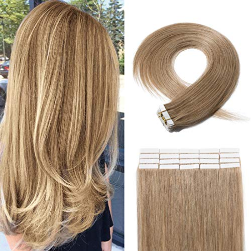 20 Pieces Rooted Tape in Hair Extensions Human Hair Seamless Skin Weft 100% Real Remy Invisible Tape Hair Extensions Straight Double Sided 16 inches #27 Dark Blonde 30g ()