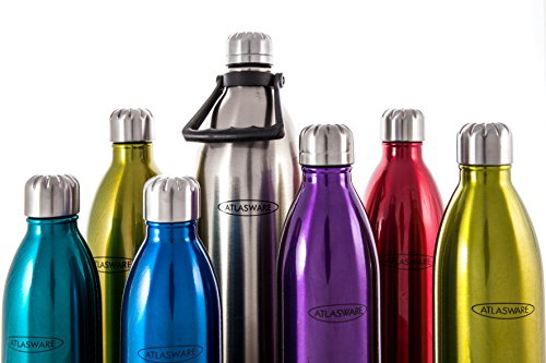 Big 1 Liter Water Bottle Stainless Steel. ATLASWARE Thermoses/Flask. Large 34 oz. Double Wall Vacuum Insulated. Red (Sold as Singles)