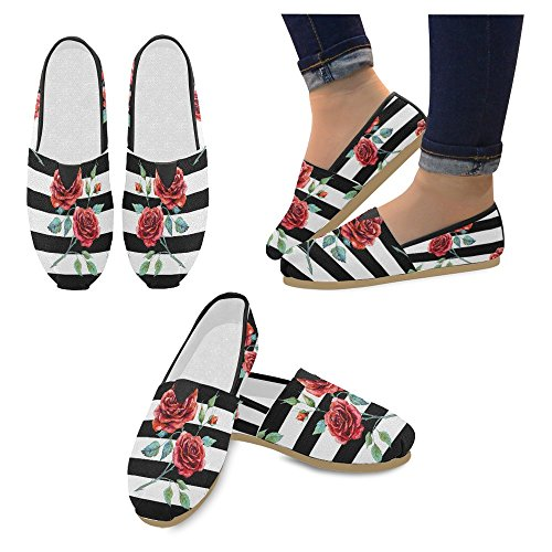 Interestprint Womens Loafers Klassiska Avslappnade Kanfassnedsteget På Mode Skor Gymnastik Mary Jane Platt Ros