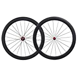 IMUST Lightweight 700C Carbon Fiber T700 Aero Road Bike Clincher 50mm Wheelset Red Hubs only1430g