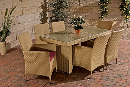 Gartenmöbel Gartenmöbel Set, Sitzgarnitur Avignon, rubin-rot / sand, Polyrattan-Aluminium-Gestell, Gartengarnitur, Sitzgruppe