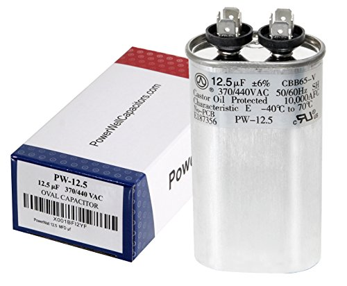 PowerWell 12.5 MFD uf 370 or 440 Volt Fan Motor Run Oval Capacitor PW-12.5/440 Condenser for Air Handler Straight Cool or Heat Pump Air Conditioner - Guaranteed to Last 5 Years (Capacitor 440v)