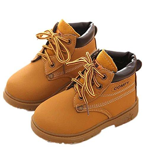 Koly Sin Adición de algodón, Bebé Niño del ejército del estilo Martin botas, zapatos calientes del invierno (21, Amarillo) Amarillo