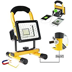 Rechargeable Work Lights with Magnetic Base - 15W 24LED Waterproof Outdoor Camping Lights, Built-in Lithium Batteries, 2 USB Ports to Charge Mobile Devices, Emergency Flashing Modes (Yellow)