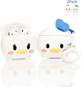 ZAHIUS Airpods Silicone Case Cool Cover Compatible for Apple Airpods 1&2 [Cartoon Series][Designed for Kids Girl and Boys](2Pack Donald&Daisy Duck)