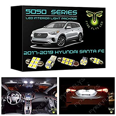 Fyre Flys 11 Piece White LED Interior Lights for 2013-2020 Hyundai Santa Fe 6000K 5050 Series SMD Package Kit and Install Tool: Automotive