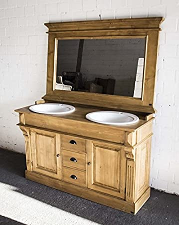 Waschtisch antik braun Massivholz, Doppelwaschtisch, Landhausstil ...