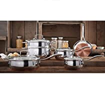 Cookware Sets 10-Piece Food Cooking Copper Charm Stainless Steel Set Stock Boil Kitchen Pots and Pans