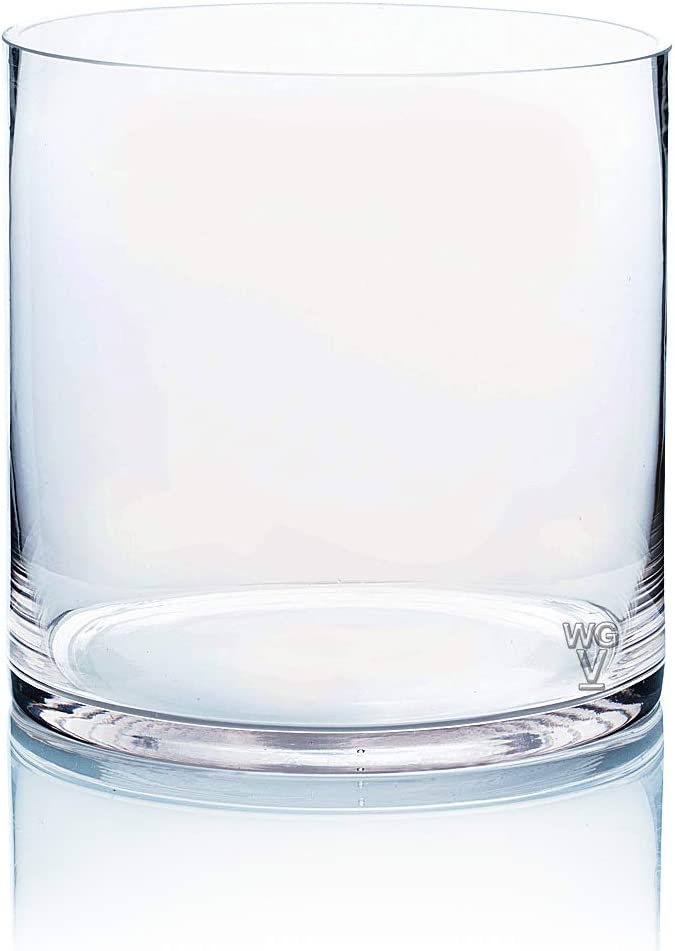 8 by 8-Inch WGV Clear Cylinder Glass Vase