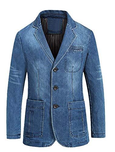 Qiusa Pour Leisure S Ajustée Clair Veste Taille Bleu coloré Hommes En Jean Coupe Blazer rqTrwXZ