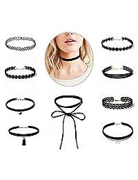 NALATI 10 Pieces Choker Necklace Set Stretch Velvet Classic Gothic Tattoo Lace Choker Necklaces