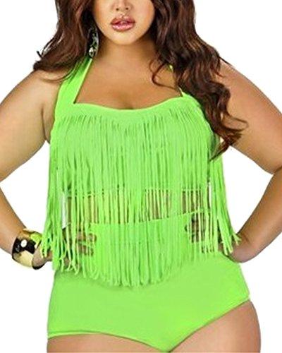 Due Verde Larga Taglia Costume Vintage Vita Bikini Donna Alta Da Bagno Set Pezzi 6w1B17q0