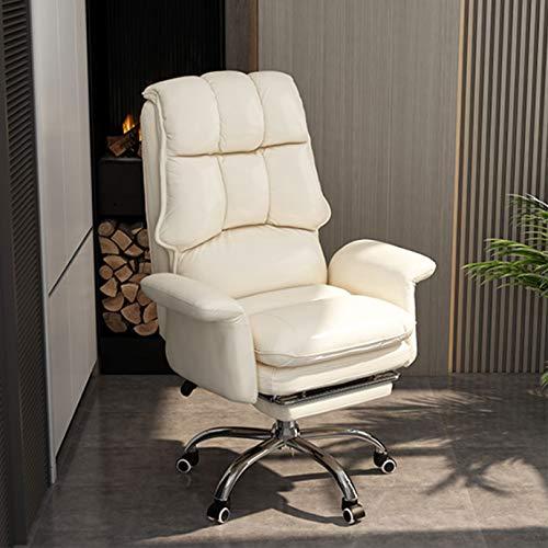 Vit PU läder kontorsstol hög rygg ergonomisk datoruppgift stol med ryggstöd, justerbar avlastning med armstöd