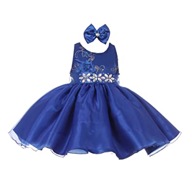 2b15184abfb1 Baby Girls Royal Blue Floral Sleeveless Sparkle Special Occasion Dress 6M:  Amazon.co.uk: Clothing