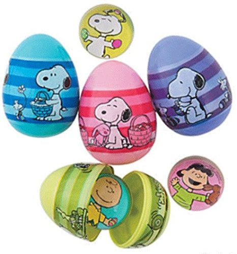 Peanuts Character Snoopy Toy Filled Plastic Easter Eggs, Set of -