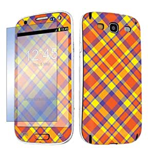 Samsung Galaxy S3 / S III Vinyl Decal Sticker Protection Skin + Screen Protector By SkinGuardz - Plaid Orange