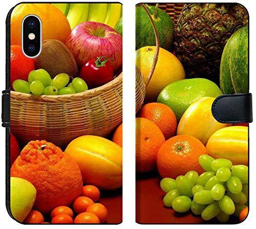 Apple iPhone Xs MAX Flip Fabric Wallet Case Image of Food Fruit Orange Pineapple Fresh Diet Lemon Apple Healthy Kiwi Vitamin Nutrition Group Background Green