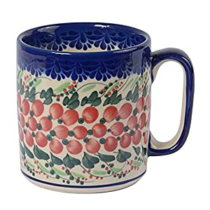 Traditional Polish Pottery, Handcrafted Ceramic Roller Mug (400 ml), Boleslawiec Style Pattern, Q.201.CRANBERRY