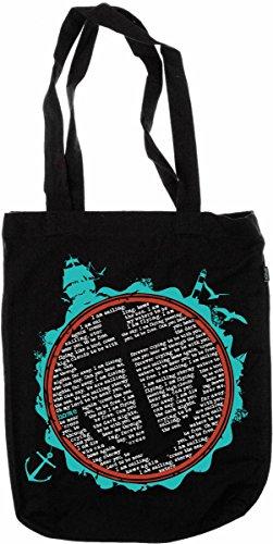 My-tagshirt - Organic Fashion Bag - - Sailing 100% Bio da commercio equo e solidale - Nero-