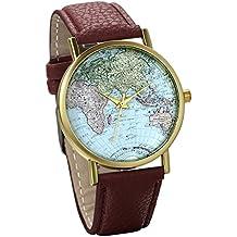 JewelryWe Classic Brown Leather Watch World Map Pattern Wristwatch Unisex Birthday Gift