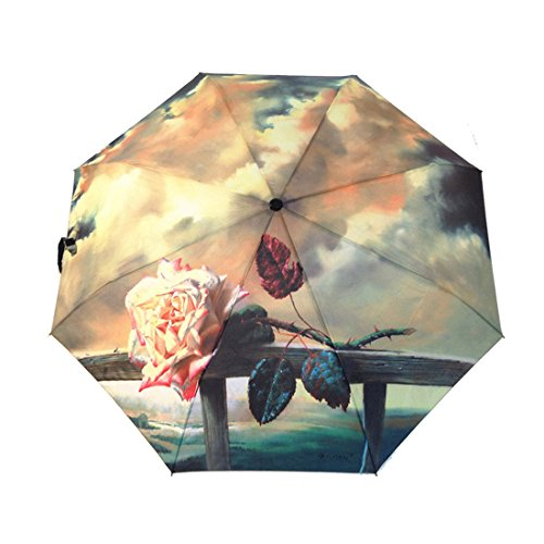 Automatic Umbrella, WQWL New Creative Oil Painting Automatic Folding Portable Ultralight Umbrella Anti-UV Sunblock Umbrella Sun Protection Parasol Rain/Sun Umbrella for Ladies (Base Elec Heater)