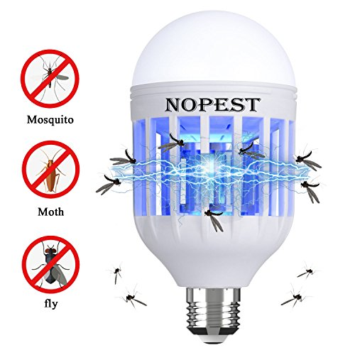 NOPEST Bug Zapper Light Bulb, 2 in 1 Mosquito Killer Lamp, Electronic Insect & Fly Killer, Built in Insect Trap, Fits in 110V E26/E27 Light Bulb Socket, Suit for Indoor (Bug Zapper)