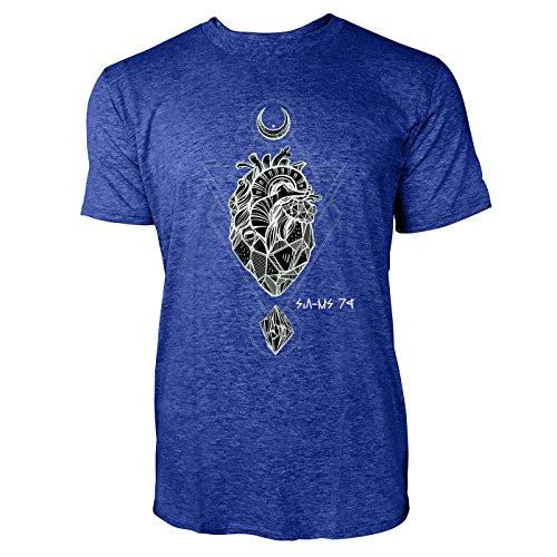 SINUS ART® Herz aus Stein mit Monden und Edelsteinen Herren T-Shirts in Vintage Blau Cooles Fun Shirt mit tollen Aufdruck