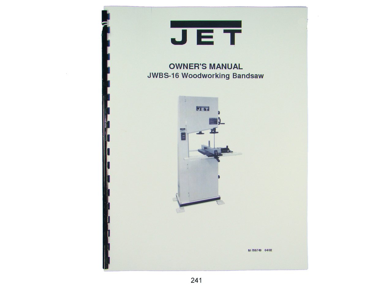 Jet Jwbs 16 Woodworking Band Saw Operators Parts List Manual Wiring Diagram Books