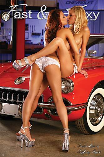 36 Poster Sexy - Fast & Sexy | Playboy Models Tiffany Ryan & Tosha Lyn | 1958 Corvette | Girls Kissing Poster | 24 x 36 inches