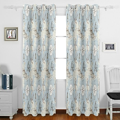 Nautical Anchor Helm Compass Map Starfish Pattern Ocean Theme Grommet Blackout Window Curtain Panels 55″ w x 84″ L Inches Long Set of 2,Window Treatment Drape for Living Room Bedroom Home Decor For Sale